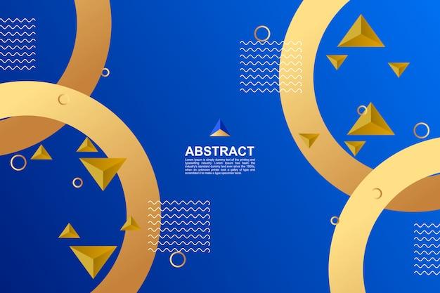 抽象的なブルーとゴールデンの幾何学的背景