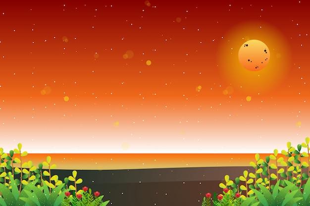 抽象的なカラフルな空と海の背景