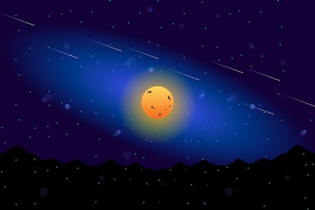 Пейзаж полная луна с звездным ночным небом иллюстрации