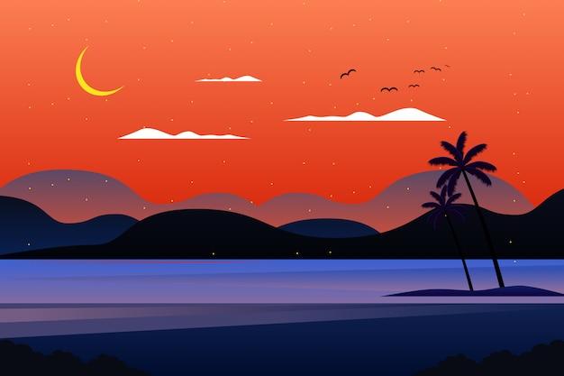 夏の夜の空と海の風景イラスト