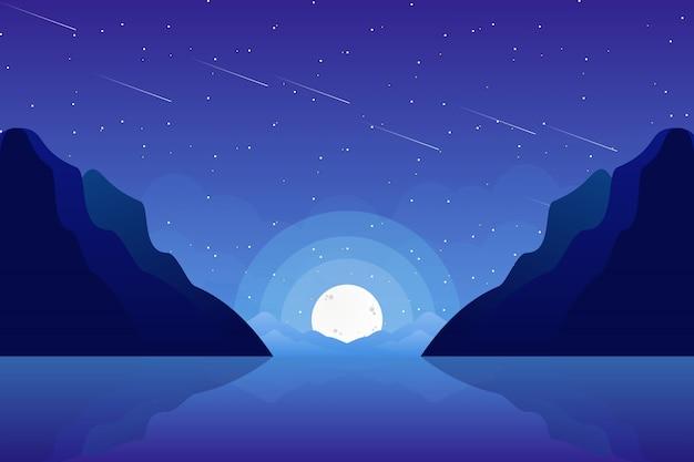 海と空の星明かりの夜