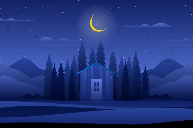 夜の森のある家