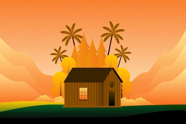 夕日のイラストが家と夏の森