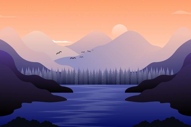 夜の冬のシーズンの背景の松林