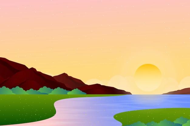 夕方の空と海の風景の背景