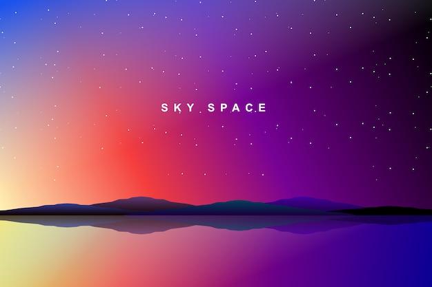 空の空間と銀河の背景