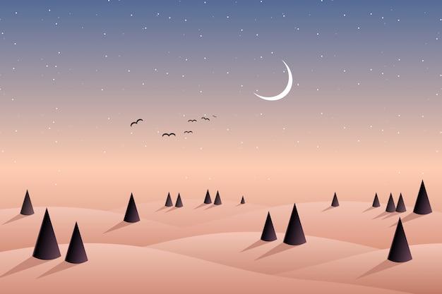 松の森の丘と夜空の背景の山
