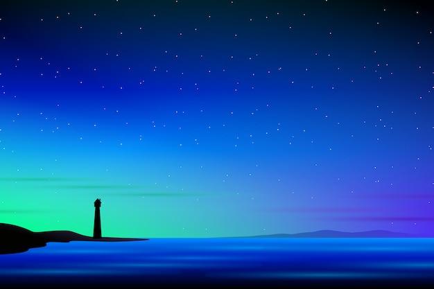 灯台と天の川の背景