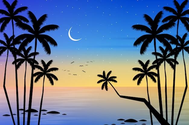 Пейзаж горизонта с силуэтом кокосовой пальмы