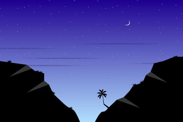 Пейзаж с силуэтами гор с звездной ночью голубое небо