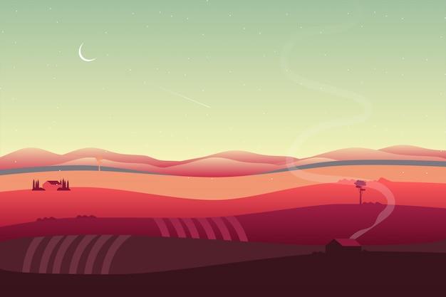 谷と丘の中腹の風景と田舎の背景