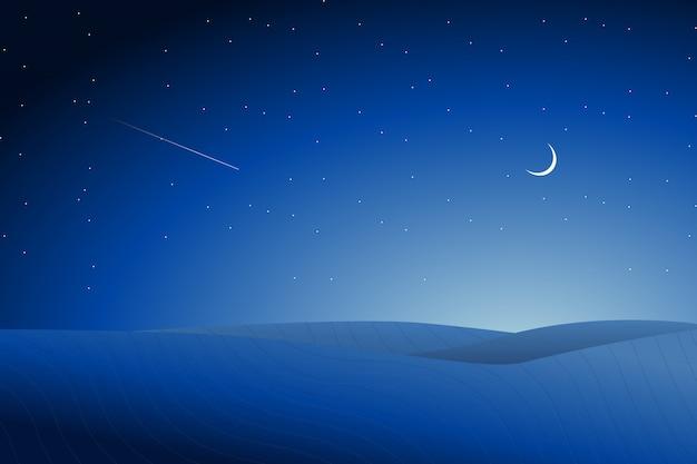 星空の夜背景と砂漠の風景イラスト