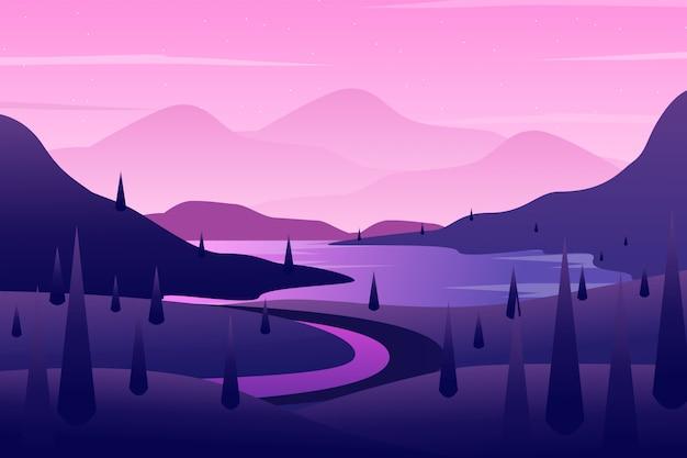 紫色の空と木の風景イラストと丘の中腹の背景