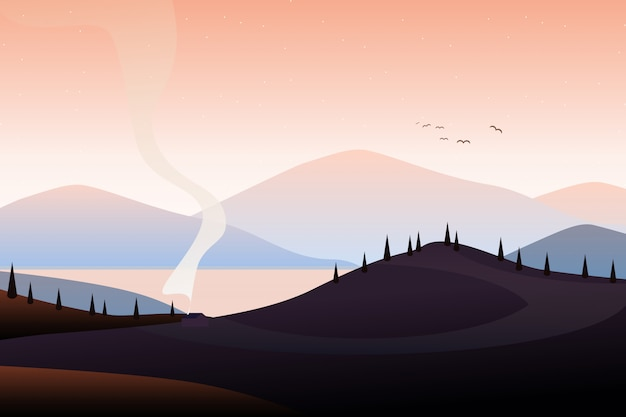 山の風景イラスト