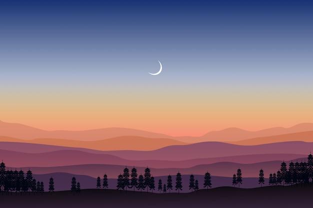 Горный пейзаж с сосновым лесом под звездным ночным небом