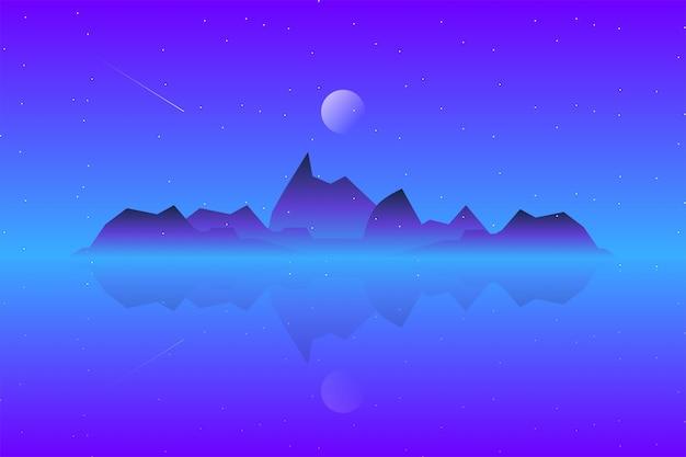 Пейзаж горный пейзаж с иллюстрацией звездной ночи