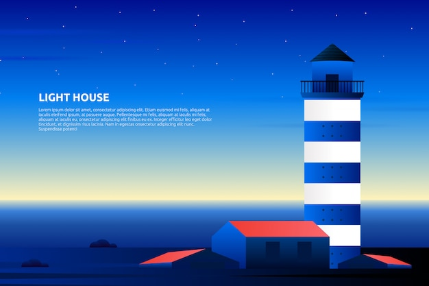夜の夕日と紫の空の風景イラストと灯台