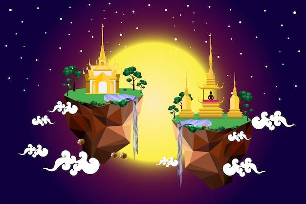 Золотой замок на низком полигоне острова
