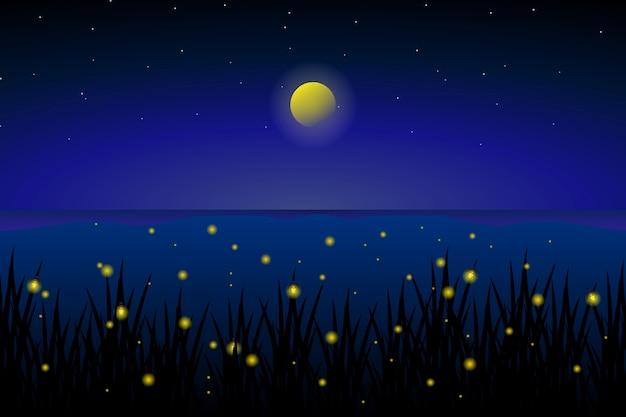 Светлячок в море со звездной ночью и красочным пейзажем неба