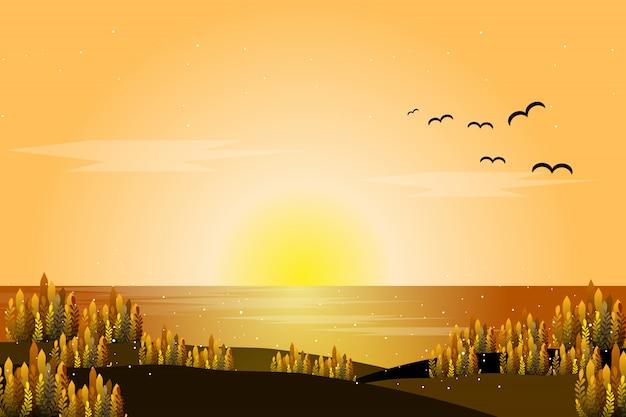 夕焼けの海風景