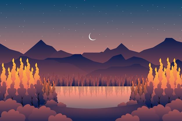 山を背景に風景秋の森