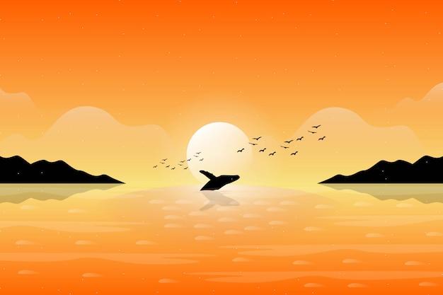 Иллюстрация плавания кита с оранжевым небом захода солнца