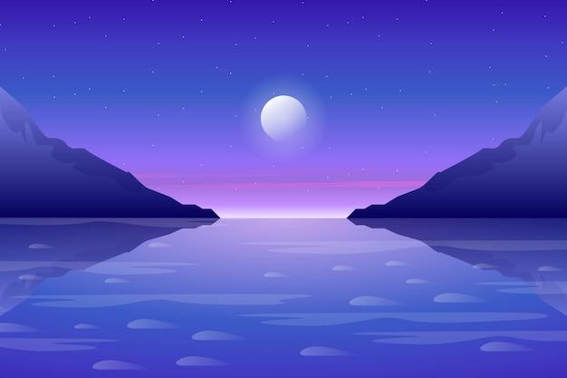 美しい山と海を背景に青い空