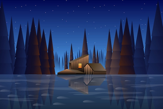 Красивый сосновый лес с домом и голубым небом