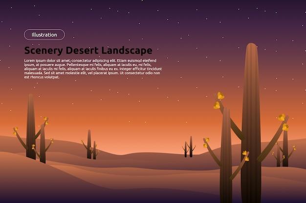 Пустынный пейзаж с звездным ночным небом, кактусом и вечерним фоном неба