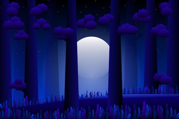 Пейзаж ночного леса с полной луной и фэнтезийным садом