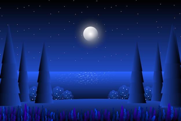 抽象的な満月と星空の夜の風景