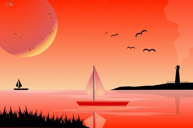 海の風景と夏の夕日
