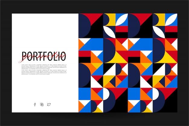 幾何学的なランディングページのウェブサイトのテンプレート