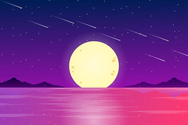 Полная луна с морским пейзажем