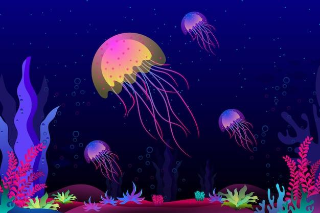 海のイラストの下の美しいサンゴとクラゲ