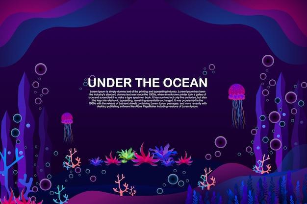 テキストテンプレートと海の背景の下の美しいサンゴとクラゲ。