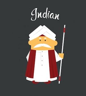 インドの男フラットイラスト