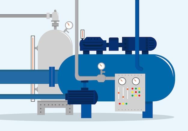 Грузовой складской комплекс, контейнер для воды, газа, химиката и нефти. векторная иллюстрация, плоский стиль