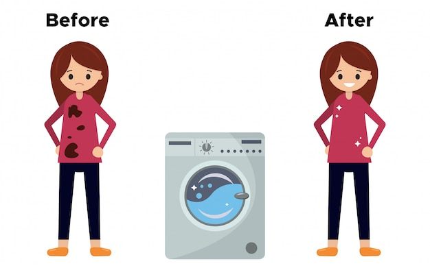 Девушка в грязной футболке перед стиркой, а после стирки в стиральной машине.