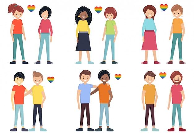 同性愛者のカップルベクトルを設定します。