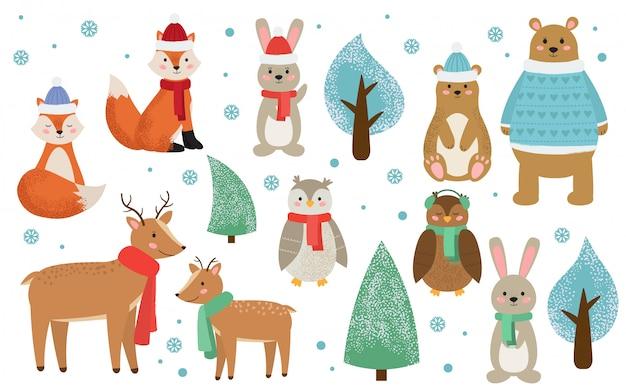 Набор зимних лесных животных, одетых в одежду.