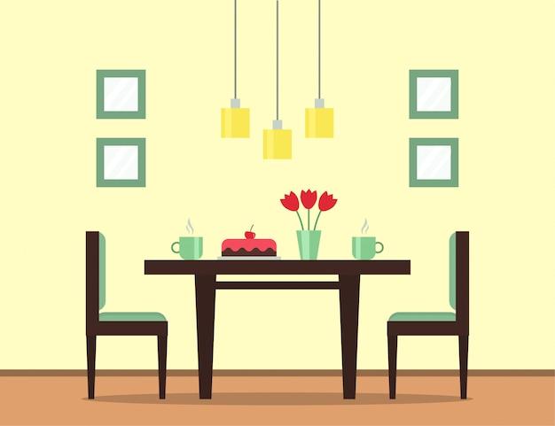 ダイニングルームのインテリア。ケーキ付きのダイニングテーブル、紅茶またはコーヒーのカップ、花と椅子。