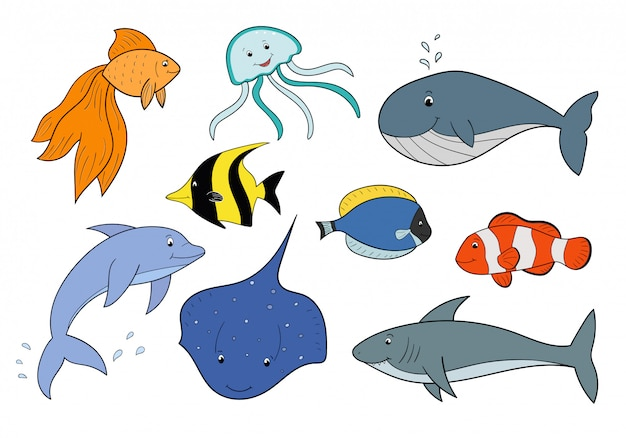 水中の動物のセットです。かわいい漫画の魚、クラゲ、タコ、サメ、イルカ。海の野生生物