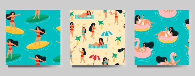 夏のシームレスなパターンセット。ビーチでリラックスしたり、日光浴をしたり、海や海で泳いだり、本を読んだり、ボールをしたりする女性。