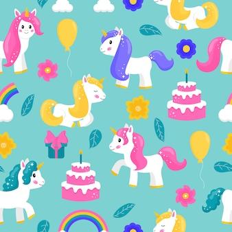 Симпатичные мультяшные бесшовные узор единороги с тортом, воздушным шаром, радугой и гифками