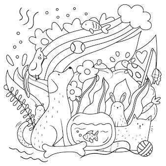 大人と子供のための落書きの着色ページ。