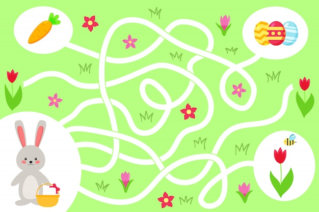 Лабиринт игры для дошкольников. помогите кролику каваи найти правильный путь к пасхальным яйцам. весенние цветы и морковь. векторная иллюстрация