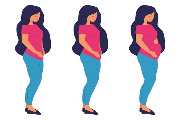 Этапы беременности. симпатичный плоский мультипликационный персонаж. беременная женщина и роды новорожденного триместра. женщина фигура живота во время беременности. изолированные на белом фоне