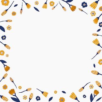 手描きの花と二乗ボーダー。