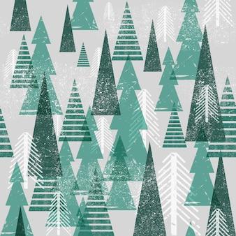 シームレスな冬の森のパターン。